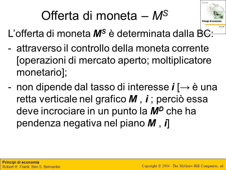 Principi di economia Robert H. Frank, Ben S. Bernanke Copyright © 2004 - The McGraw-Hill Companies, srl Offerta di moneta – M S Lofferta di moneta M S