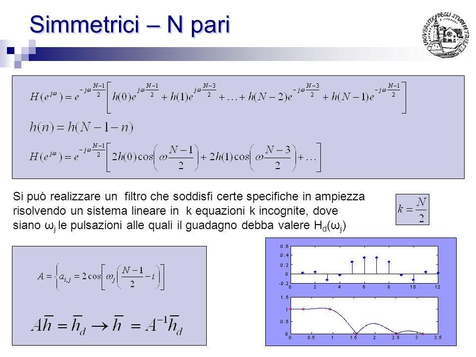 Simmetrici – N dispari Si può realizzare un filtro che soddisfi certe specifiche in ampiezza risolvendo un sistema lineare in k equazioni k incognite,