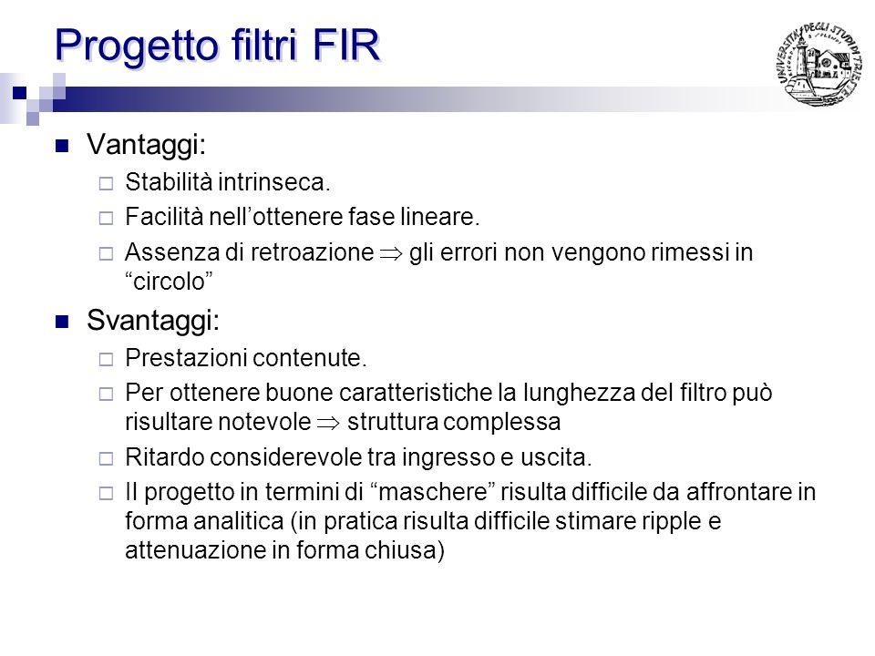 Progetto filtri FIR Vantaggi: Stabilità intrinseca.
