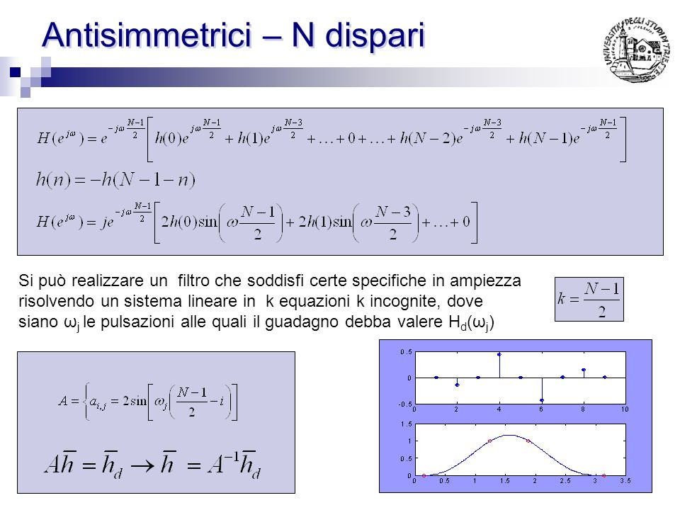 Simmetrici – N pari Si può realizzare un filtro che soddisfi certe specifiche in ampiezza risolvendo un sistema lineare in k equazioni k incognite, do