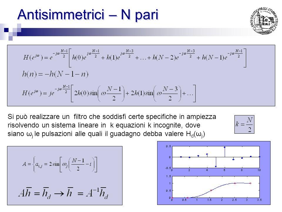 Antisimmetrici – N dispari Si può realizzare un filtro che soddisfi certe specifiche in ampiezza risolvendo un sistema lineare in k equazioni k incogn