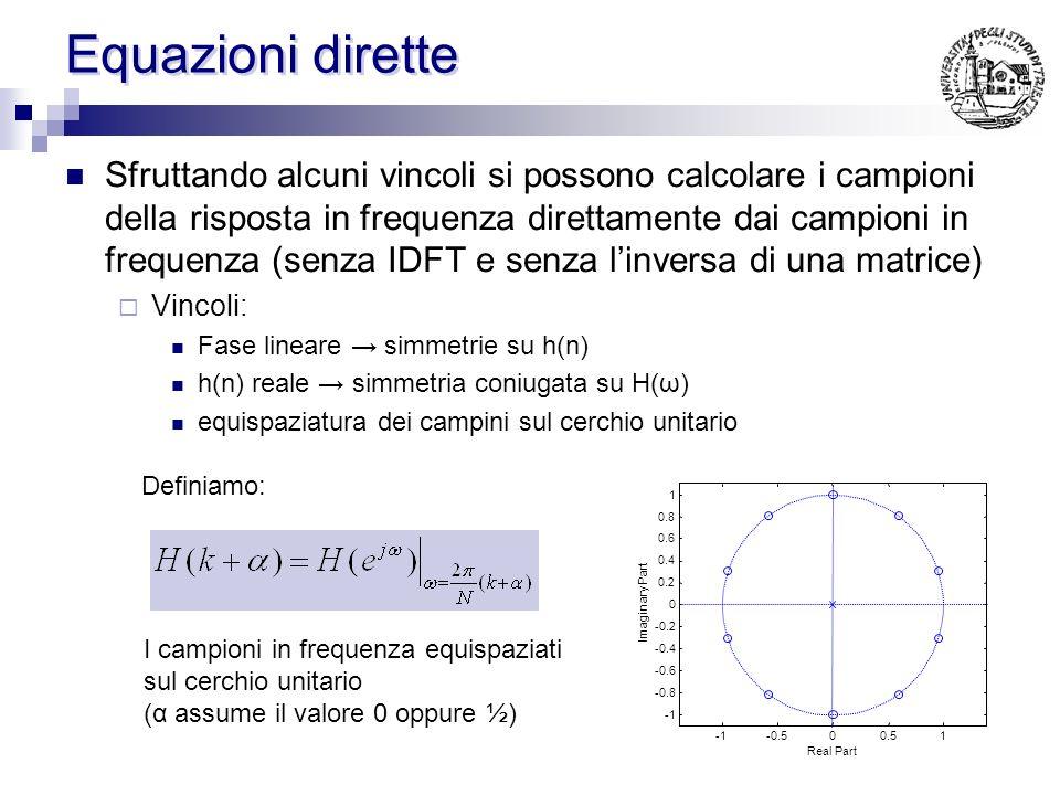IDFT Quando i campioni sono scelti equispaziati sul cerchio unitari si può utilizzare la IDFT per calcolare la h(n) si scelgono N campioni equispaziat