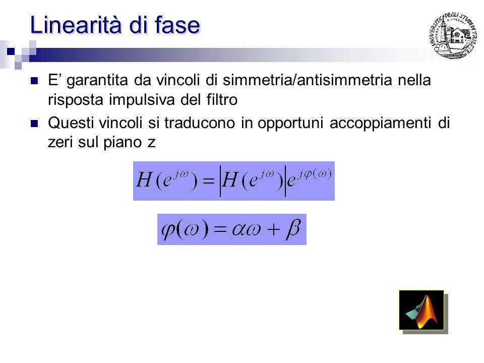 Linearità di fase E garantita da vincoli di simmetria/antisimmetria nella risposta impulsiva del filtro Questi vincoli si traducono in opportuni accoppiamenti di zeri sul piano z