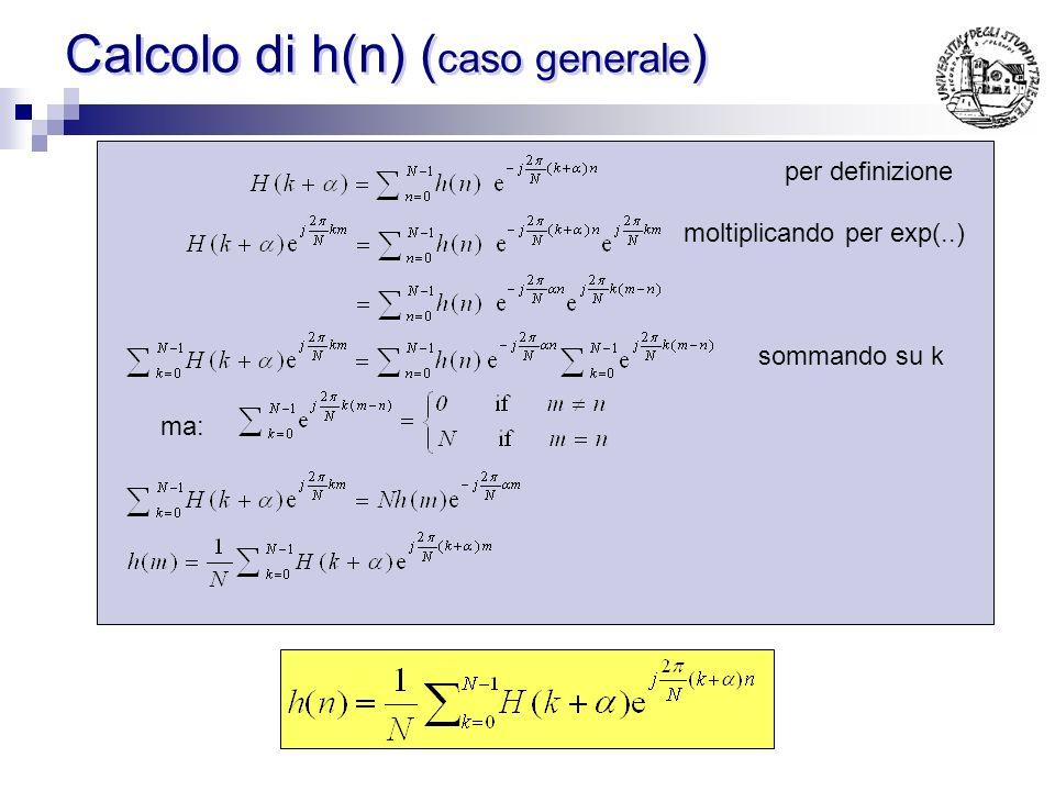 Equazioni dirette Sfruttando alcuni vincoli si possono calcolare i campioni della risposta in frequenza direttamente dai campioni in frequenza (senza