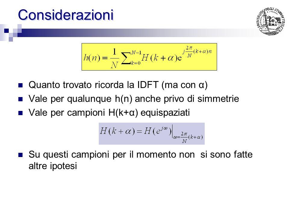 Calcolo di h(n) ( caso generale ) moltiplicando per exp(..) ma: per definizione sommando su k