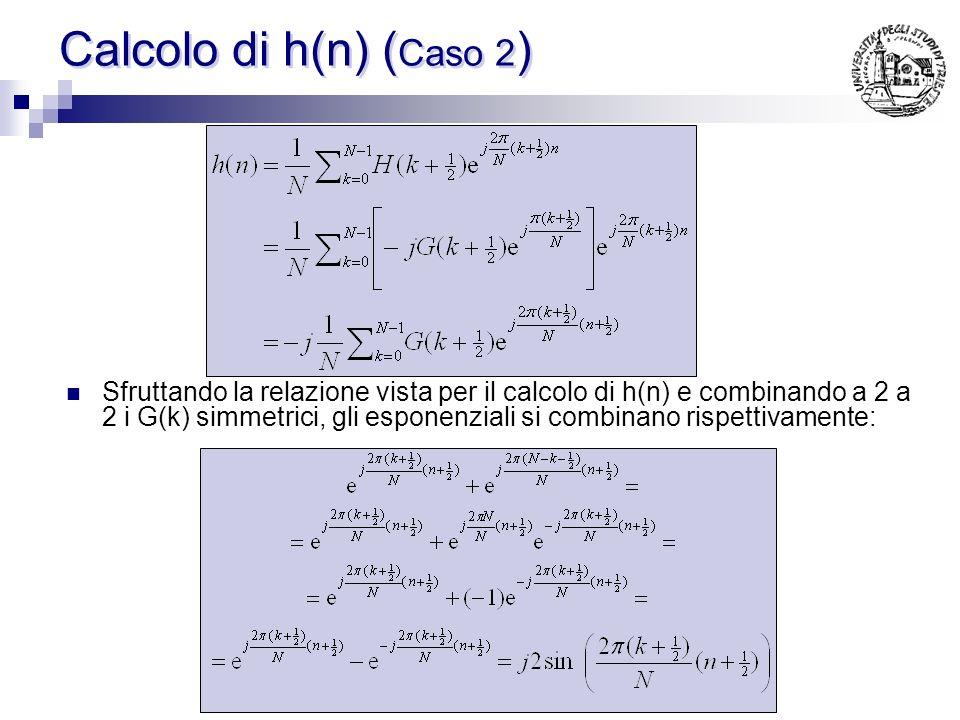 Relazione tra G(k+1/2) e G(N-k-1/2) essendo h(n) reale vale la seguente relazione: ovvero: quindi: I campioni simmetrici devono presentare segno conco