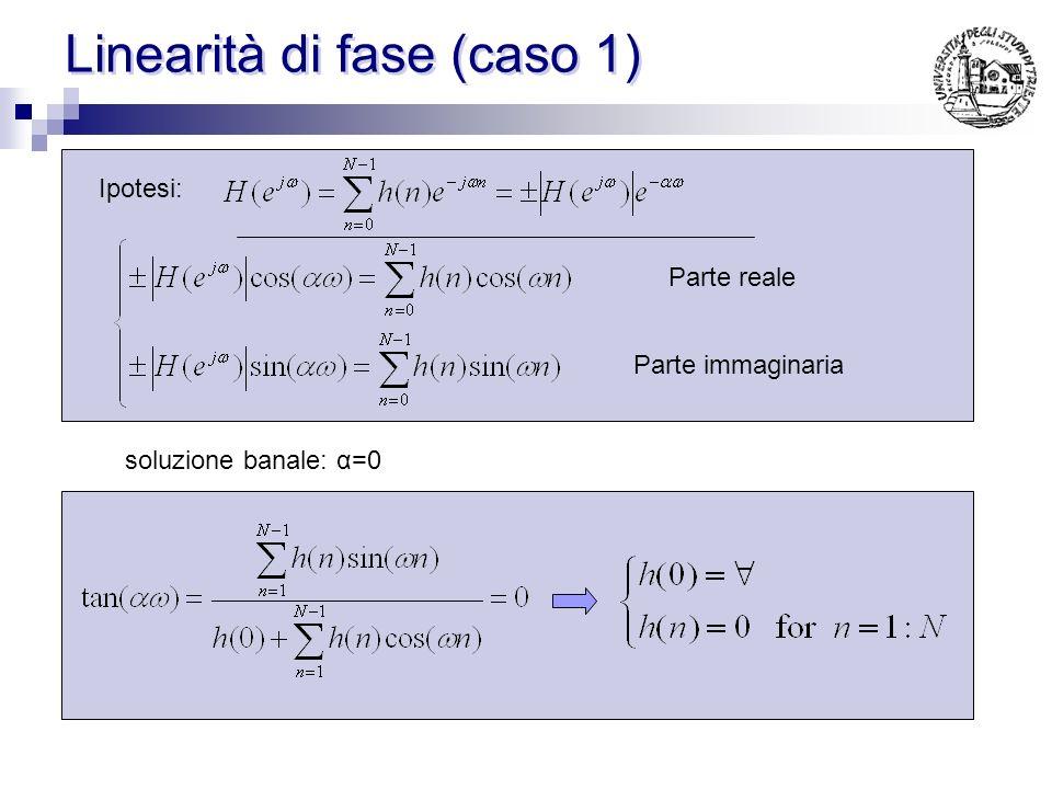 Caso 4 ( h(n) antisimmetrica, α=1/2 ) sia h(n) reale, antisimmetrica ed α=1/2 H(k) possono essere calcolati sfruttando la antisimmetria: Ovvero H(k) deve presentare una certa fase per soddisfare le ipotesi di partenza H(k) avrà un certo modulo, un certo segno ed una certa fase
