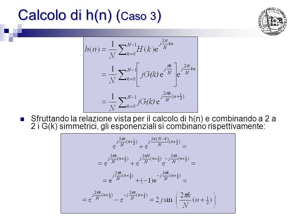 Relazione tra G(k) e G(N-k) essendo h(n) reale vale la seguente relazione: ovvero: quindi: I campioni simmetrici devono presentare segno uguale NOTA:
