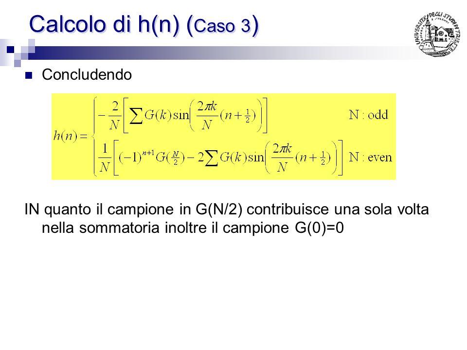Calcolo di h(n) ( Caso 3 ) Sfruttando la relazione vista per il calcolo di h(n) e combinando a 2 a 2 i G(k) simmetrici, gli esponenziali si combinano