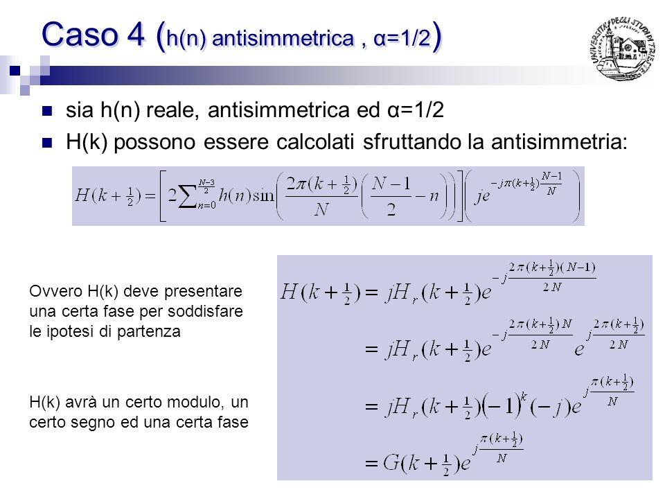 Calcolo di h(n) ( Caso 3 ) Concludendo IN quanto il campione in G(N/2) contribuisce una sola volta nella sommatoria inoltre il campione G(0)=0