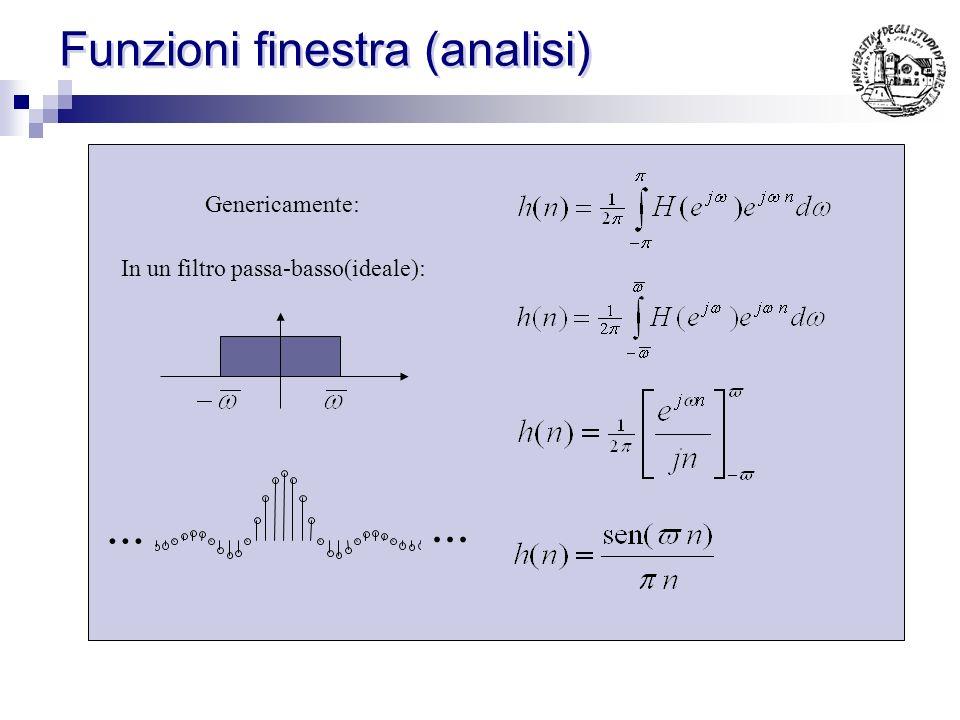 Funzioni finestra Partendo dalle specifiche richieste si progetta analiticamente un filtro ideale detto filtro ideale richiederebbe infiniti campioni.