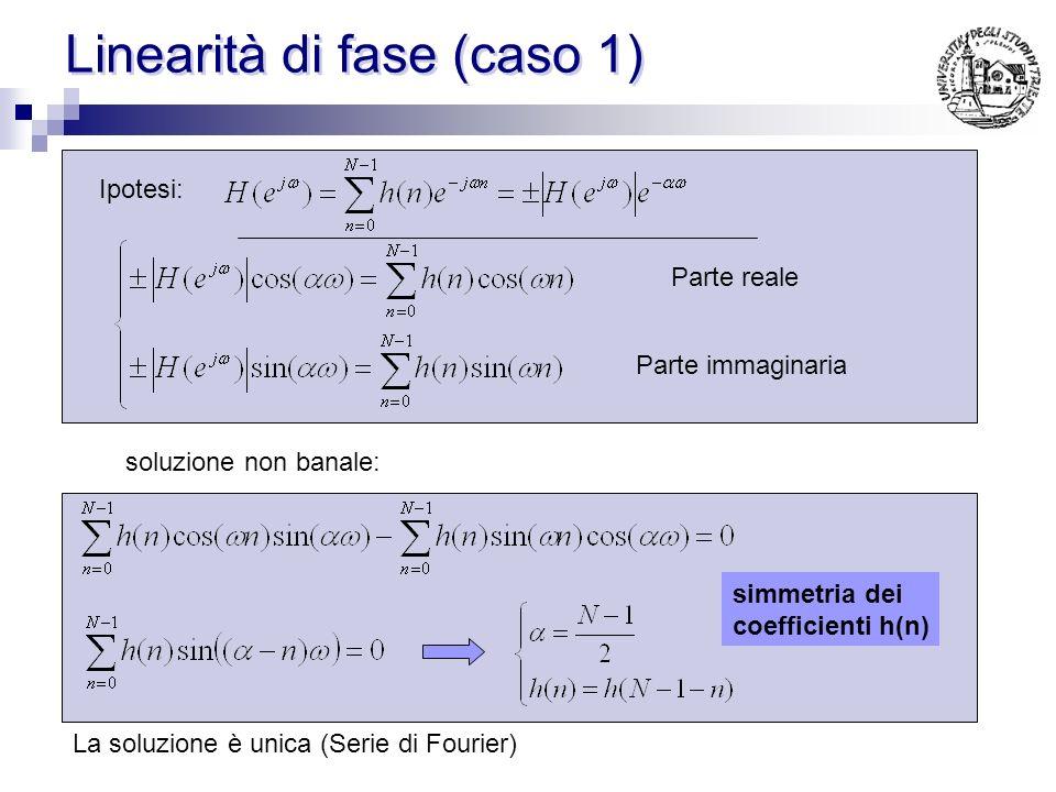 Campionamento in frequenza Si scelga un opportuno numero di campioni in frequenza e si calcola h(n) imponendo che lH(ω) corrispondente passi per i campioni voluti La soluzione puo avvenire attraverso: Limpiego della IDFT (campioni equispaziati) La soluzione di un sistema lineare Equazioni dirette