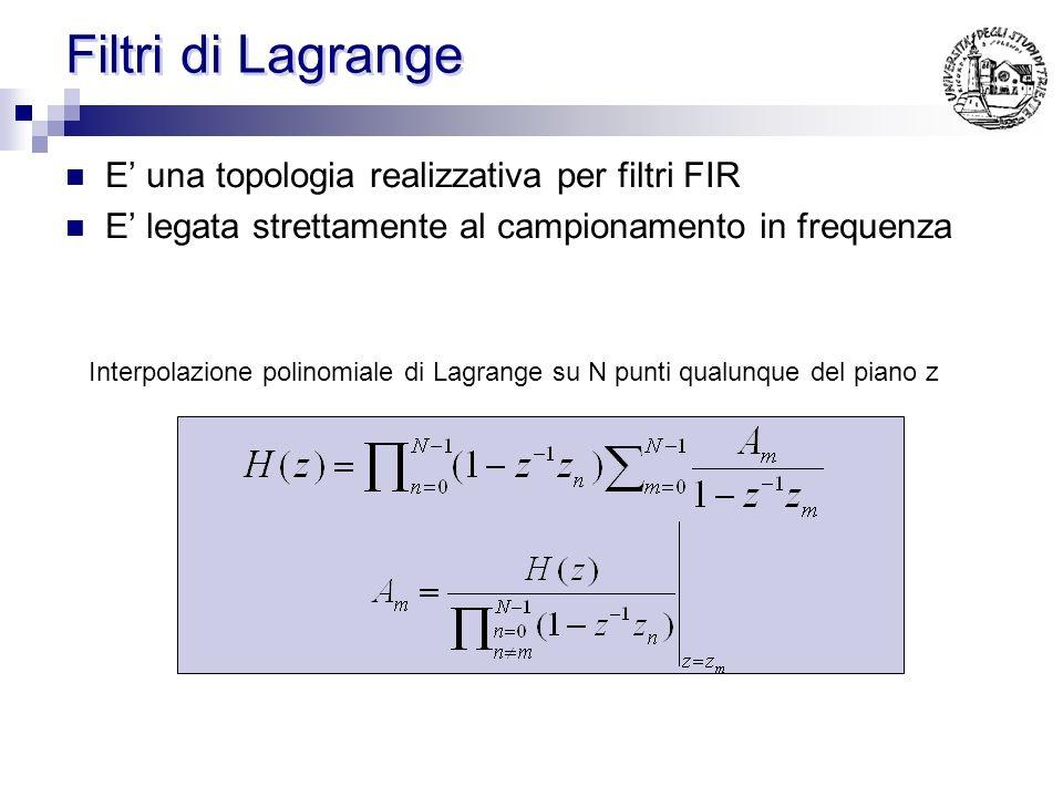 Filtro di Remez Calcolo iterativo dei coefficienti Ottimizzazione basata sulla tecnica del: minimo errore massimo Vi è la possibilità di dare un peso