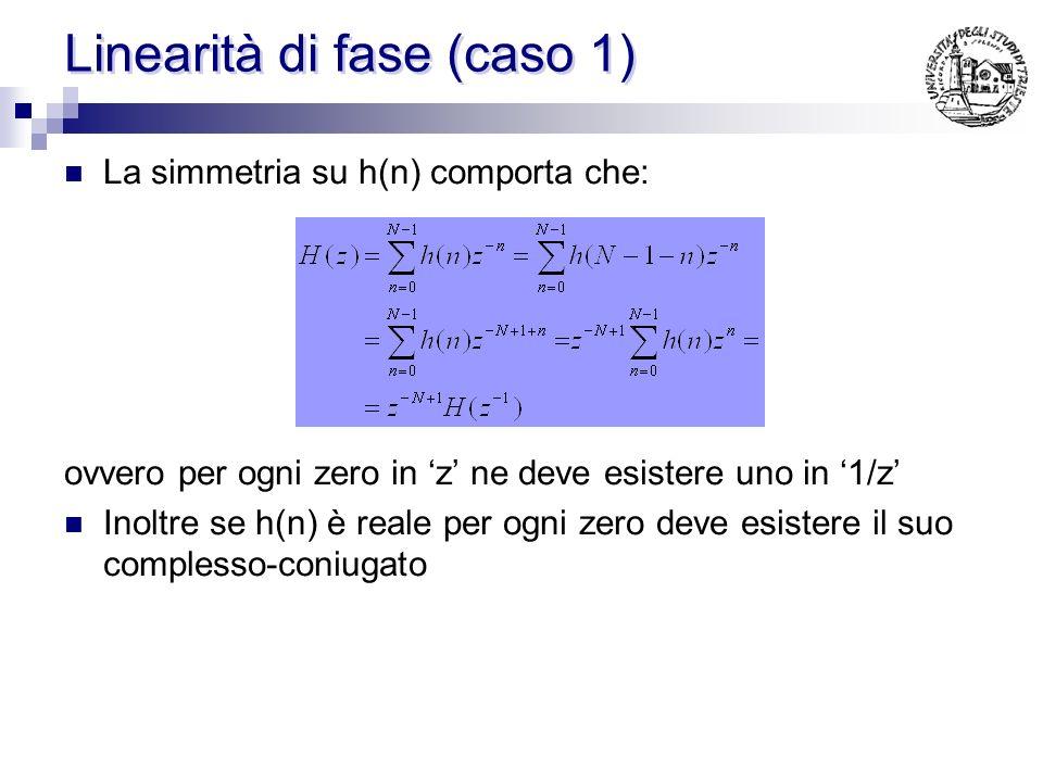 Linearità di fase (caso 1) La simmetria su h(n) comporta che: ovvero per ogni zero in z ne deve esistere uno in 1/z Inoltre se h(n) è reale per ogni zero deve esistere il suo complesso-coniugato