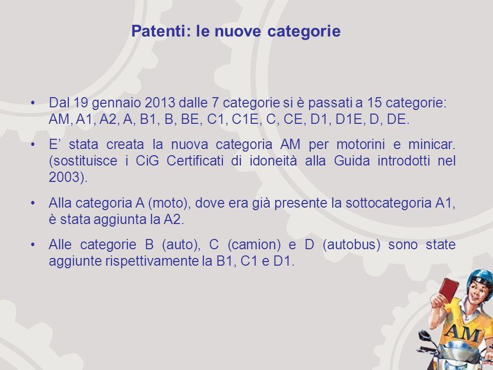 Dal 19 gennaio 2013 dalle 7 categorie si è passati a 15 categorie: AM, A1, A2, A, B1, B, BE, C1, C1E, C, CE, D1, D1E, D, DE.