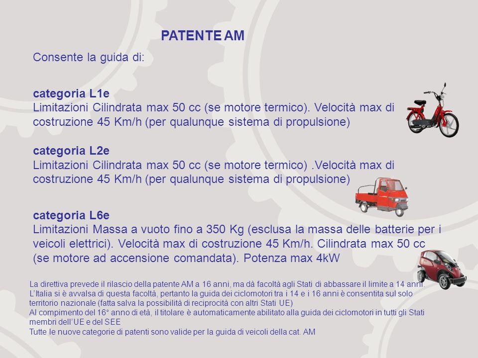 Consente la guida di: categoria L1e Limitazioni Cilindrata max 50 cc (se motore termico).