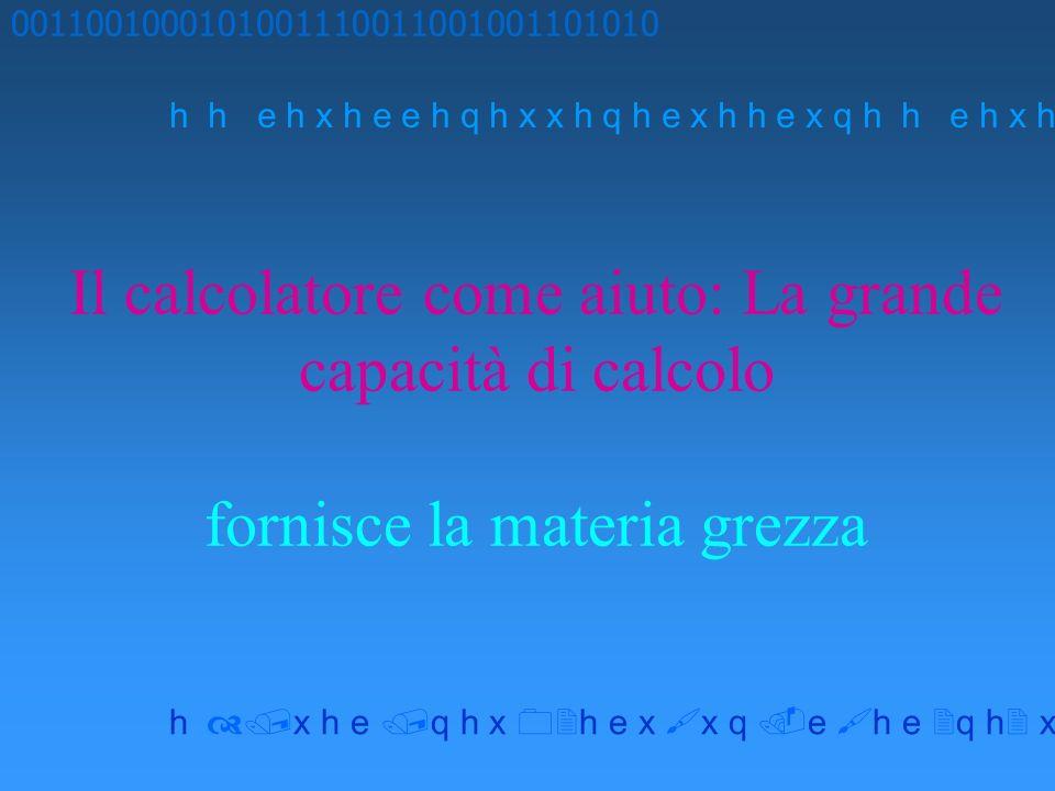 Il calcolatore come aiuto: La grande capacità di calcolo fornisce la materia grezza 0011001000101001110011001001101010 h h e h x h e e h q h x x h q h e x h h e x q h x h e q h x h e x x q e h e q h x x h