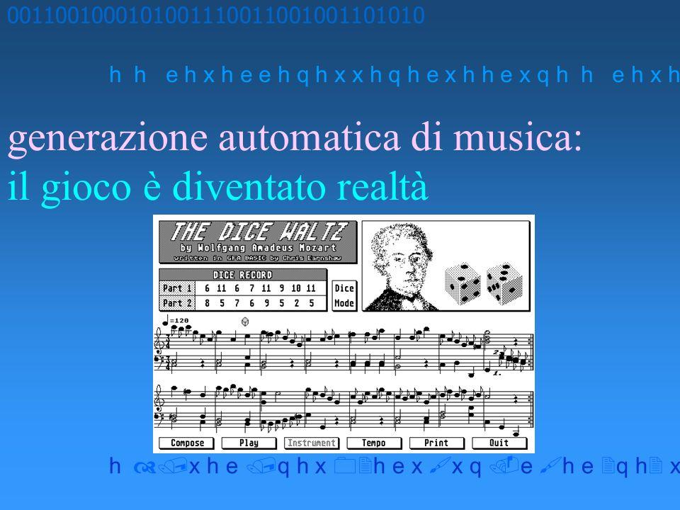 generazione automatica di musica: il gioco è diventato realtà 0011001000101001110011001001101010 h h e h x h e e h q h x x h q h e x h h e x q h x h e q h x h e x x q e h e q h x x h