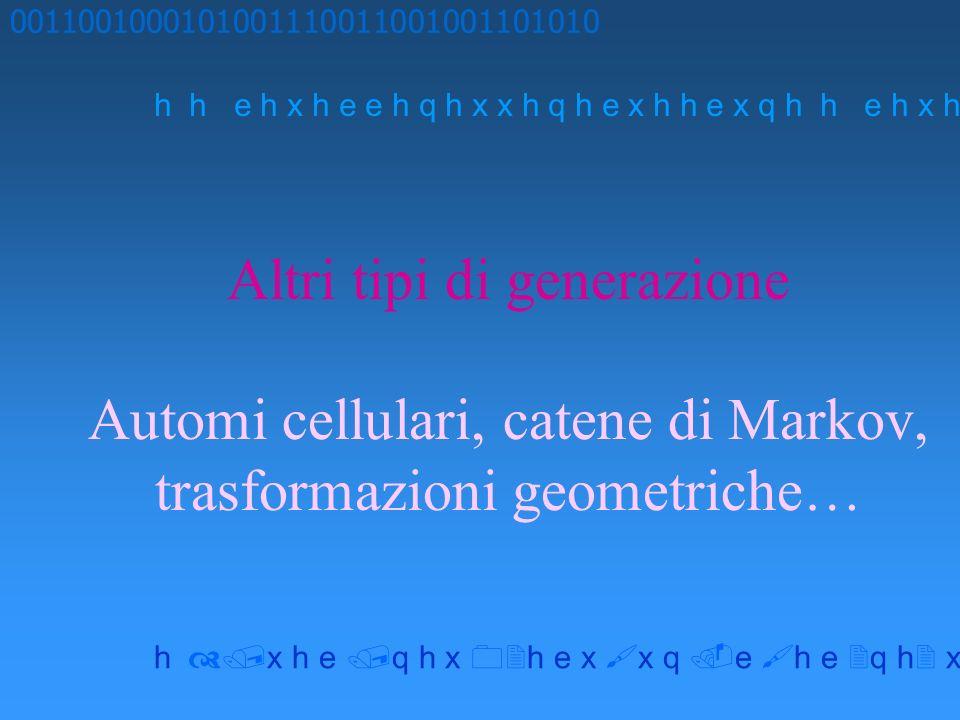 Altri tipi di generazione Automi cellulari, catene di Markov, trasformazioni geometriche… 0011001000101001110011001001101010 h h e h x h e e h q h x x h q h e x h h e x q h x h e q h x h e x x q e h e q h x x h