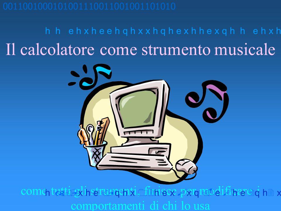 Il calcolatore come strumento musicale come tutti gli strumenti, finisce per modificare i comportamenti di chi lo usa 00110010001010011100110010011010