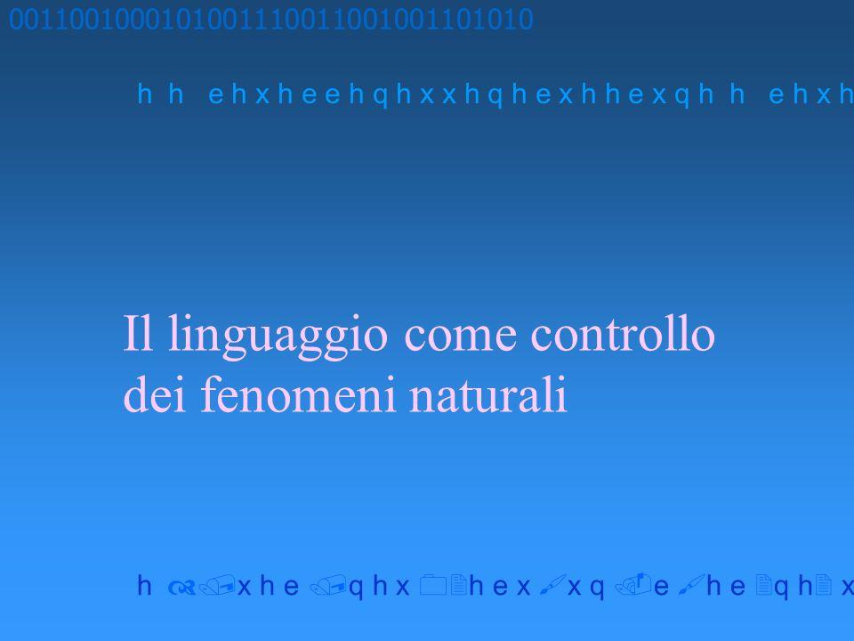 Il linguaggio come controllo dei fenomeni naturali 0011001000101001110011001001101010 h h e h x h e e h q h x x h q h e x h h e x q h x h e q h x h e
