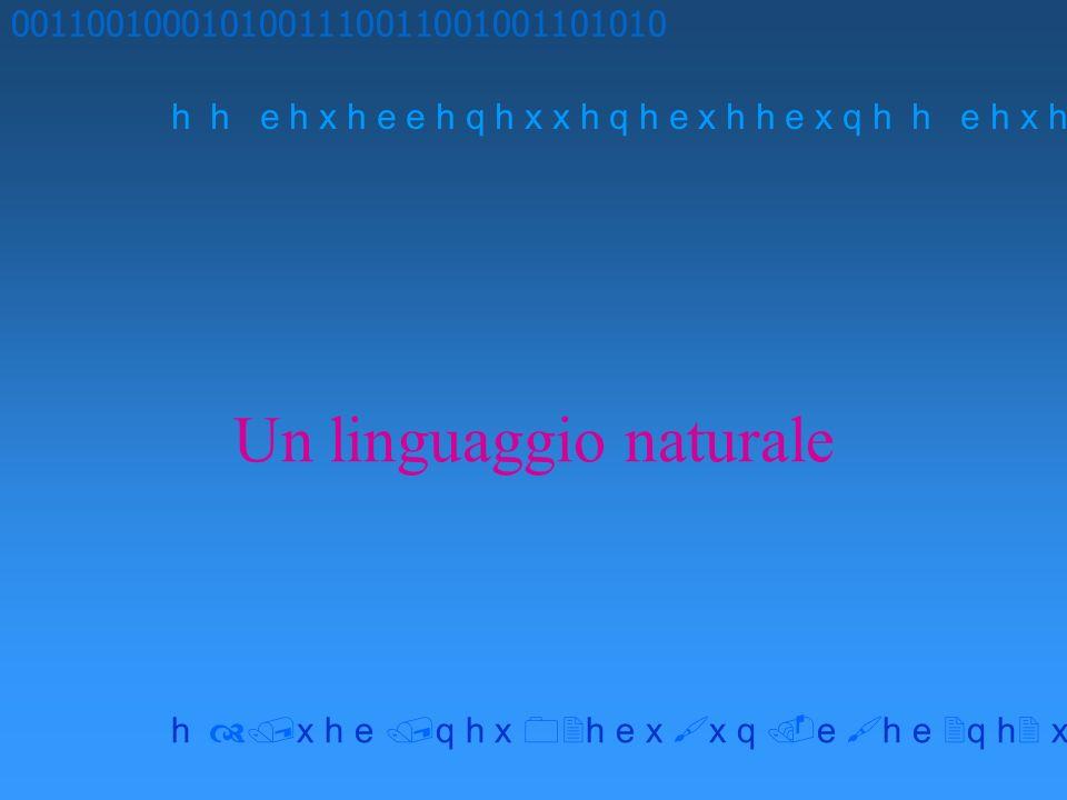 Un linguaggio naturale 0011001000101001110011001001101010 h h e h x h e e h q h x x h q h e x h h e x q h x h e q h x h e x x q e h e q h x x h