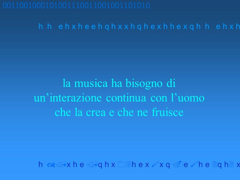 la musica ha bisogno di uninterazione continua con luomo che la crea e che ne fruisce 0011001000101001110011001001101010 h h e h x h e e h q h x x h q h e x h h e x q h x h e q h x h e x x q e h e q h x x h