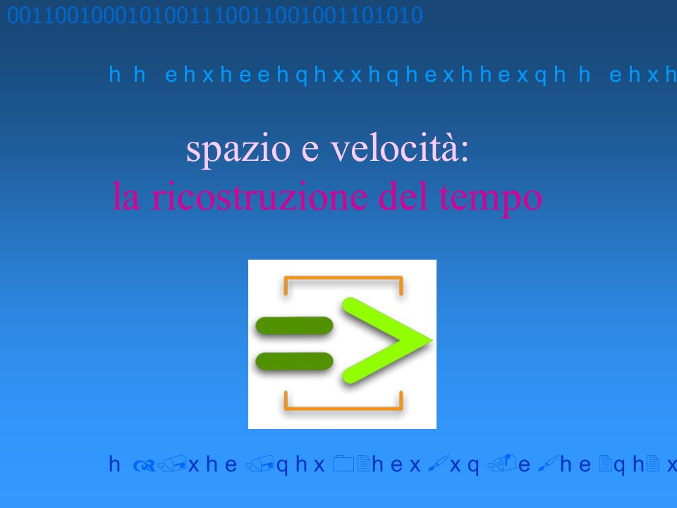 spazio e velocità: la ricostruzione del tempo 0011001000101001110011001001101010 h h e h x h e e h q h x x h q h e x h h e x q h x h e q h x h e x x q