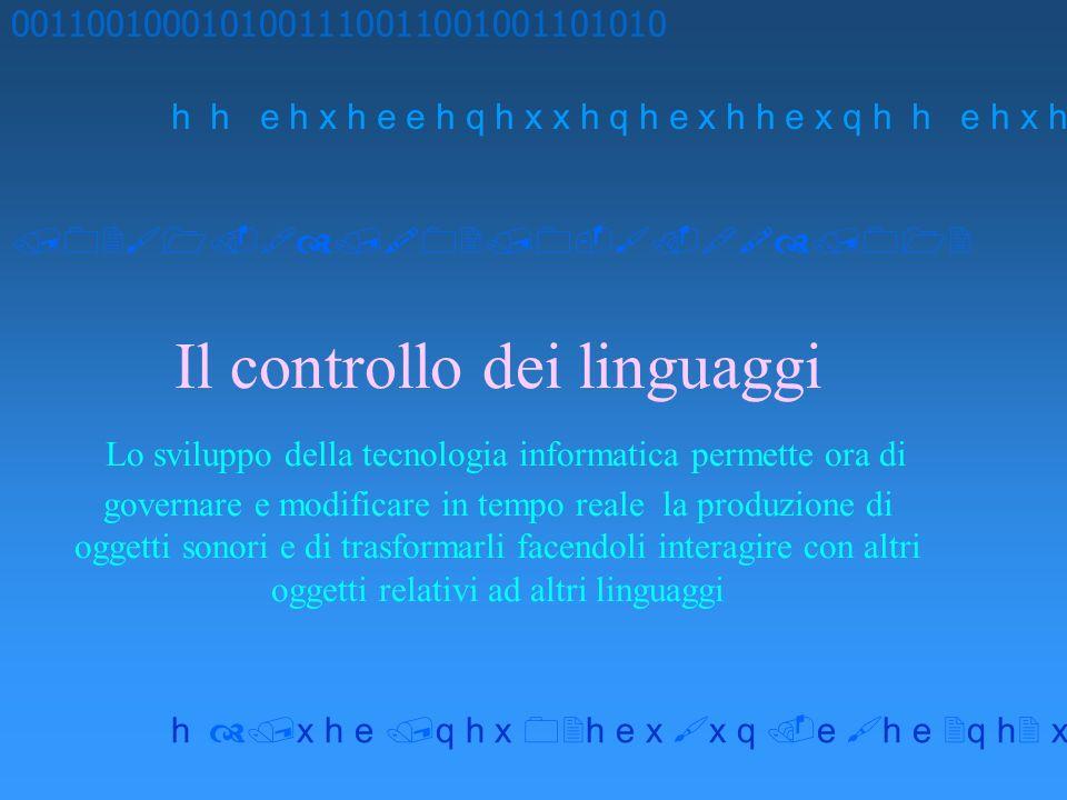 Il controllo dei linguaggi Lo sviluppo della tecnologia informatica permette ora di governare e modificare in tempo reale la produzione di oggetti son