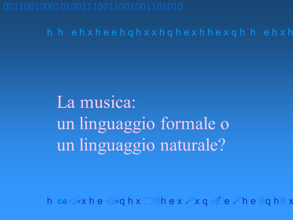 La musica: un linguaggio formale o un linguaggio naturale? 0011001000101001110011001001101010 h h e h x h e e h q h x x h q h e x h h e x q h x h e q
