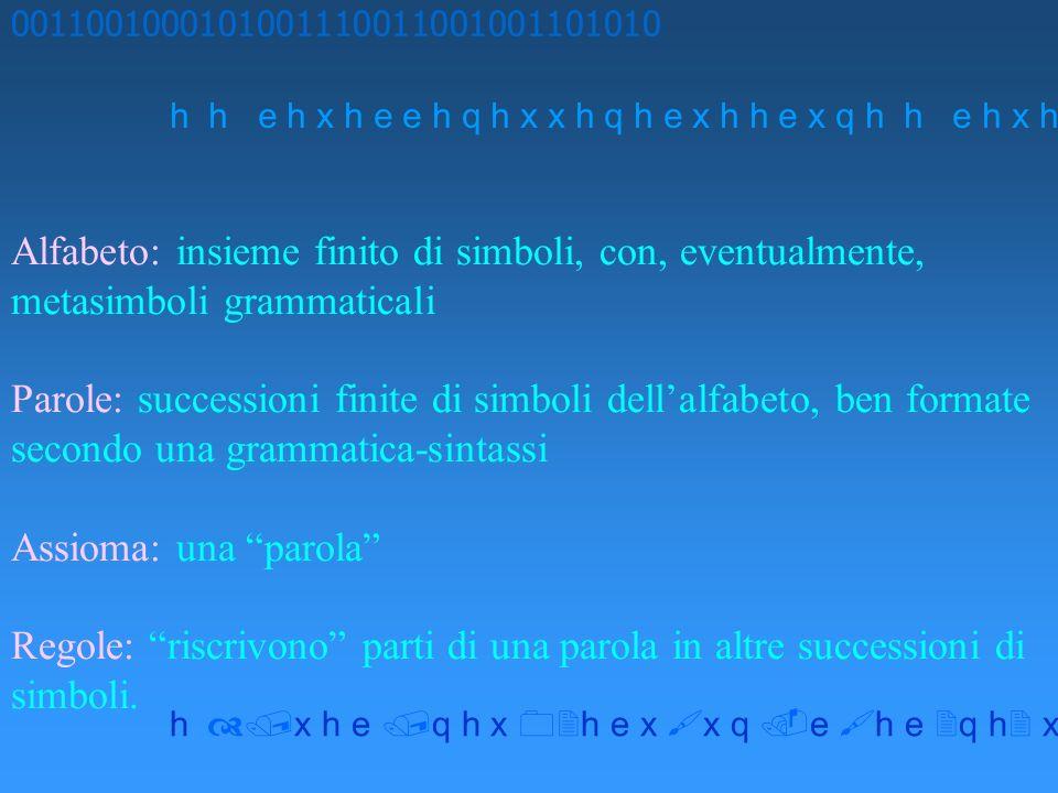 Alfabeto: insieme finito di simboli, con, eventualmente, metasimboli grammaticali Parole: successioni finite di simboli dellalfabeto, ben formate secondo una grammatica-sintassi Assioma: una parola Regole: riscrivono parti di una parola in altre successioni di simboli.