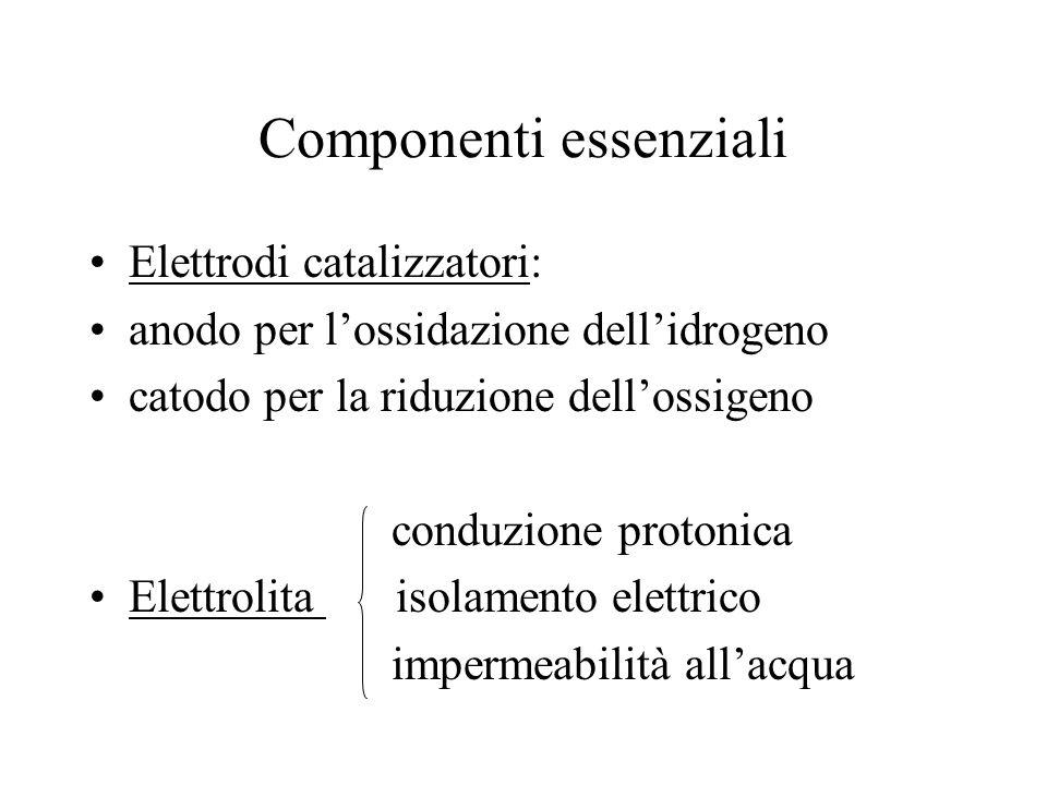 Componenti essenziali Elettrodi catalizzatori: anodo per lossidazione dellidrogeno catodo per la riduzione dellossigeno conduzione protonica Elettroli
