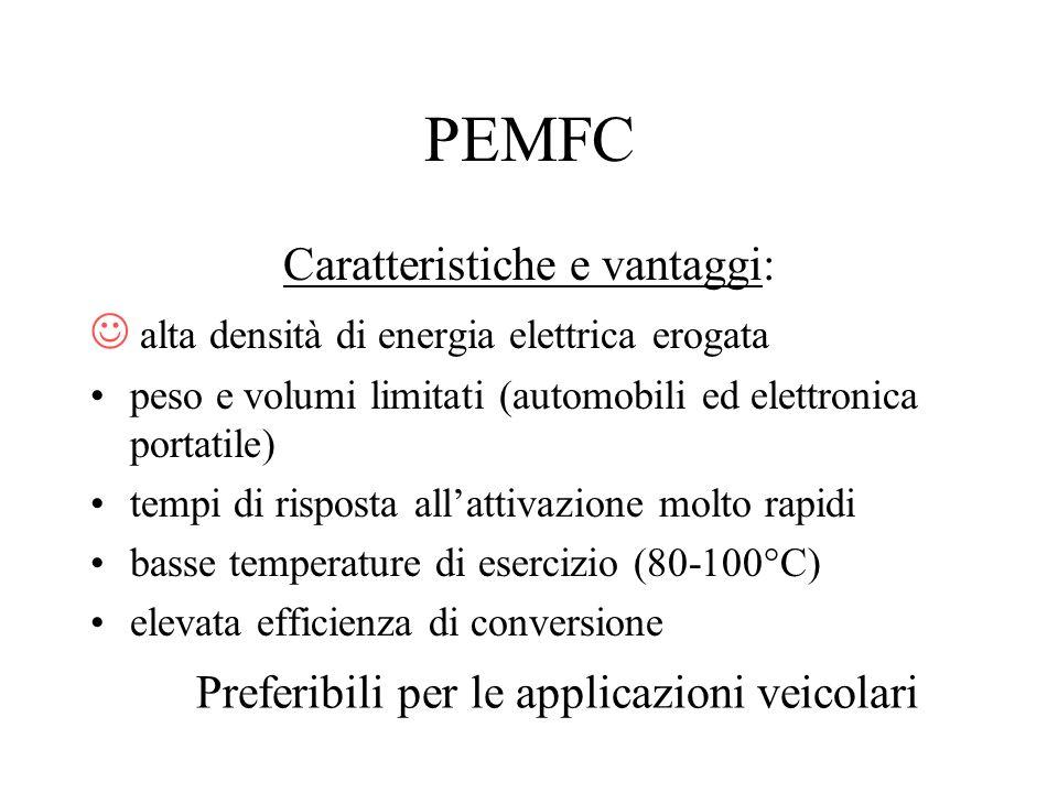 PEMFC Caratteristiche e vantaggi: alta densità di energia elettrica erogata peso e volumi limitati (automobili ed elettronica portatile) tempi di risp
