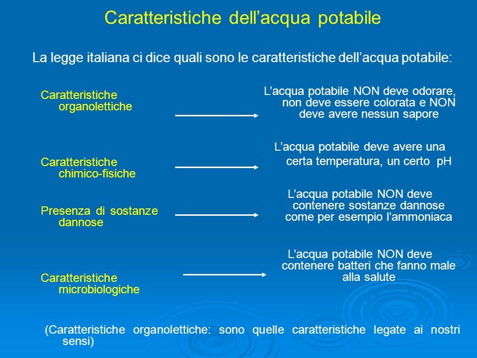 Caratteristiche dellacqua potabile La legge italiana ci dice quali sono le caratteristiche dellacqua potabile: Caratteristiche organolettiche Caratter