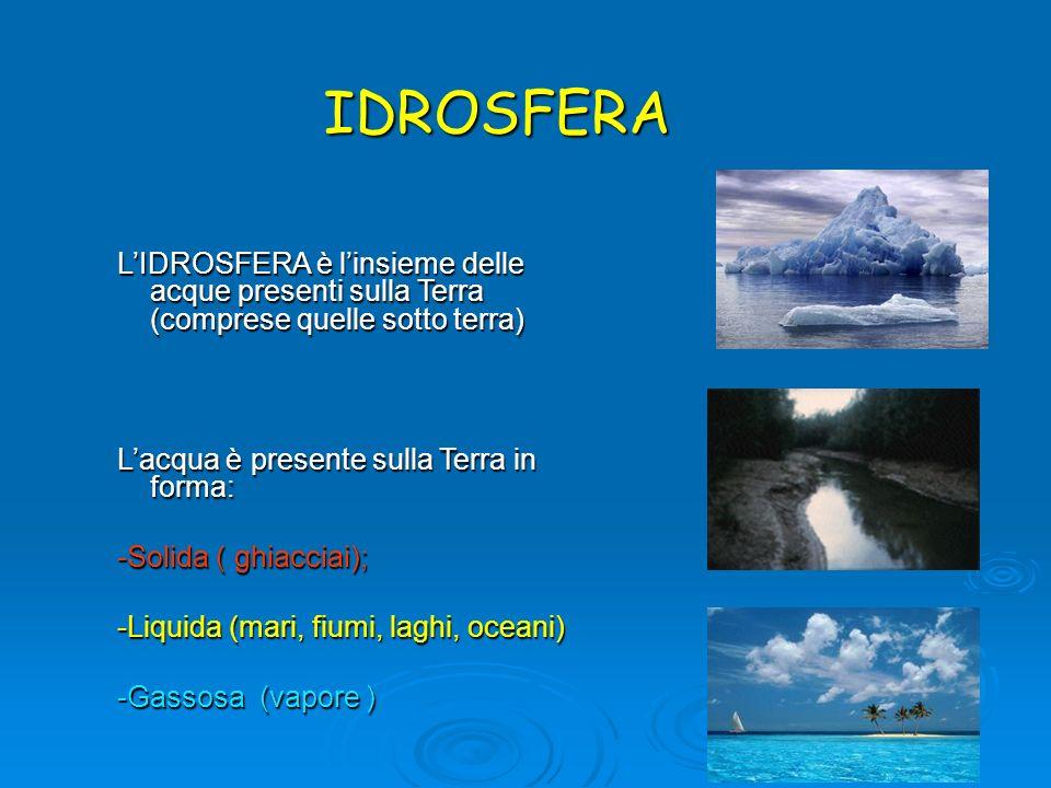 IDROSFERA LIDROSFERA è linsieme delle acque presenti sulla Terra (comprese quelle sotto terra) Lacqua è presente sulla Terra in forma: -Solida ( ghiac