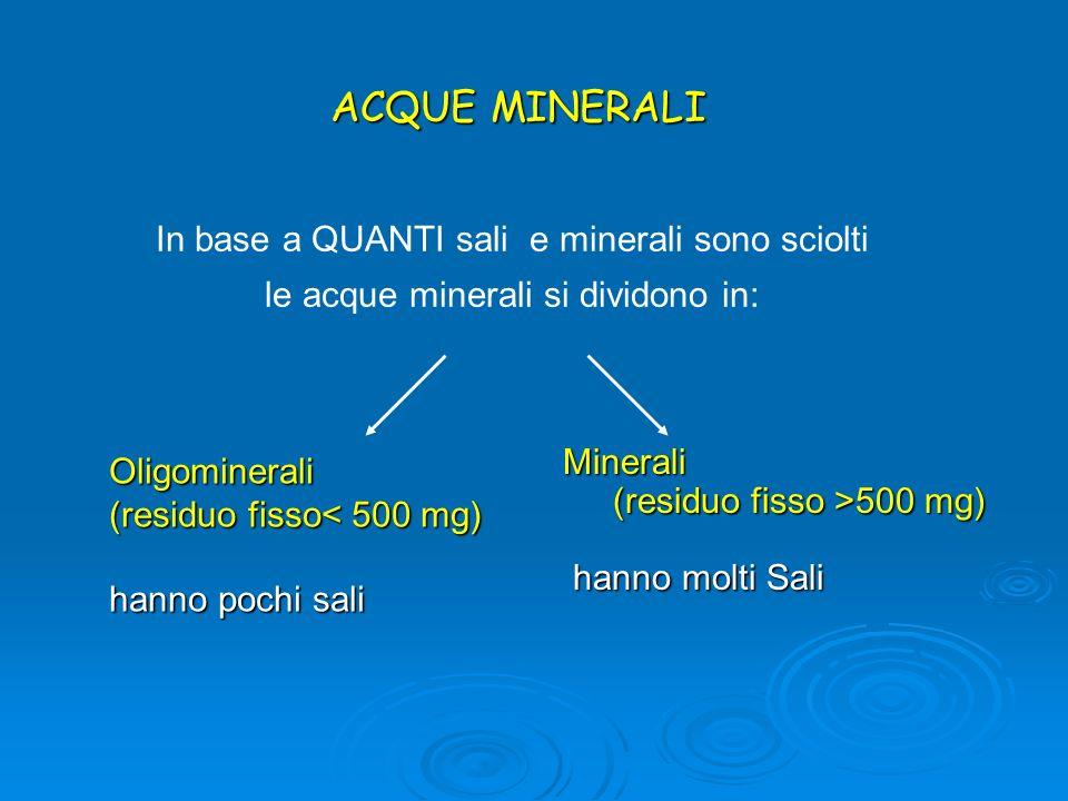 Oligominerali (residuo fisso< 500 mg) hanno pochi sali ACQUE MINERALI Minerali (residuo fisso >500 mg) (residuo fisso >500 mg) hanno molti Sali hanno