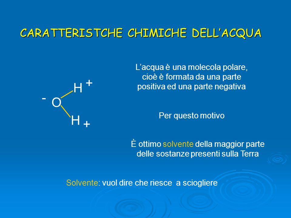 O H H - + + È ottimo solvente della maggior parte delle sostanze presenti sulla Terra Solvente: vuol dire che riesce a sciogliere Lacqua è una molecol