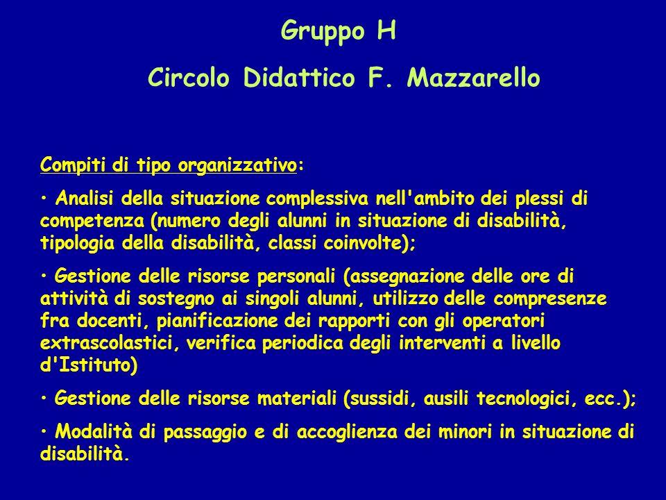 Gruppo H Circolo Didattico F. Mazzarello Compiti di tipo organizzativo: Analisi della situazione complessiva nell'ambito dei plessi di competenza (num