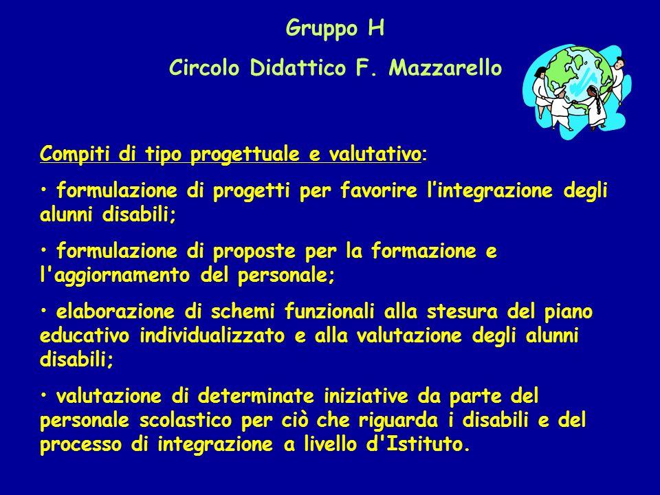 Gruppo H Circolo Didattico F. Mazzarello Compiti di tipo progettuale e valutativo : formulazione di progetti per favorire lintegrazione degli alunni d
