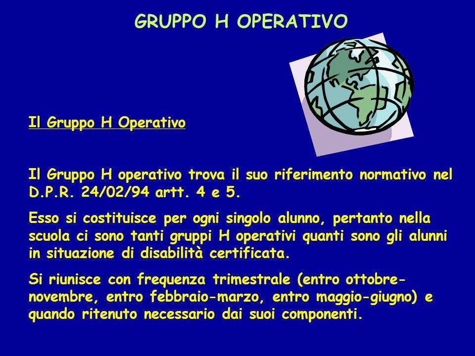 GRUPPO H OPERATIVO Il Gruppo H Operativo Il Gruppo H operativo trova il suo riferimento normativo nel D.P.R. 24/02/94 artt. 4 e 5. Esso si costituisce