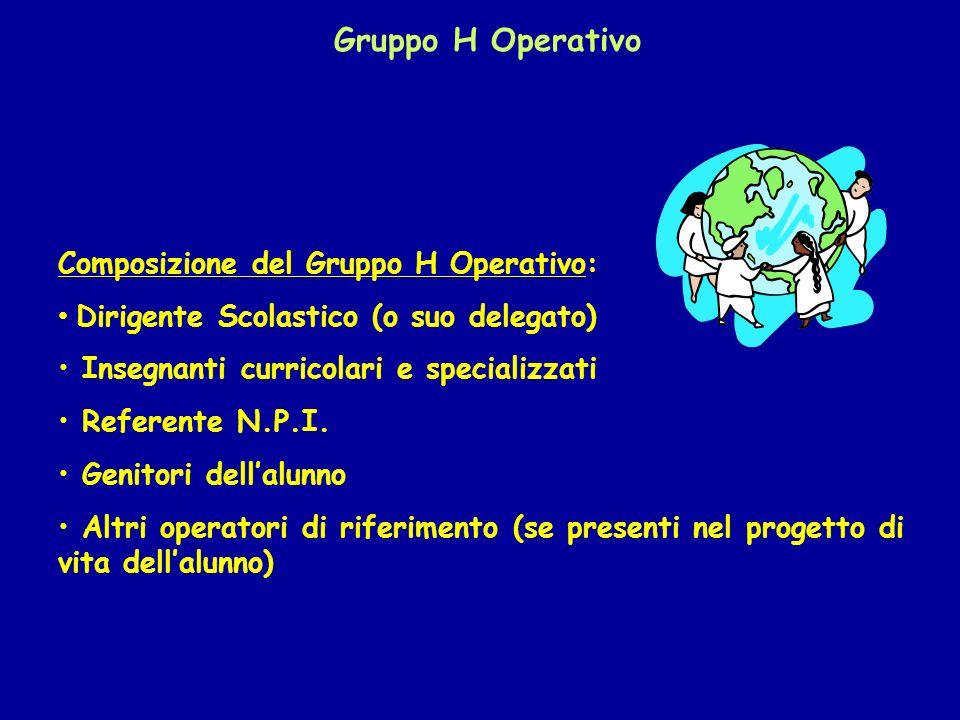 Gruppo H Operativo Composizione del Gruppo H Operativo: Dirigente Scolastico (o suo delegato) Insegnanti curricolari e specializzati Referente N.P.I.