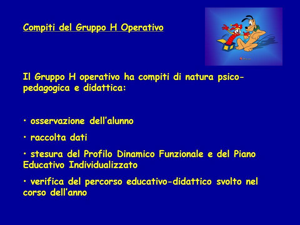 Compiti del Gruppo H Operativo Il Gruppo H operativo ha compiti di natura psico- pedagogica e didattica: osservazione dellalunno raccolta dati stesura