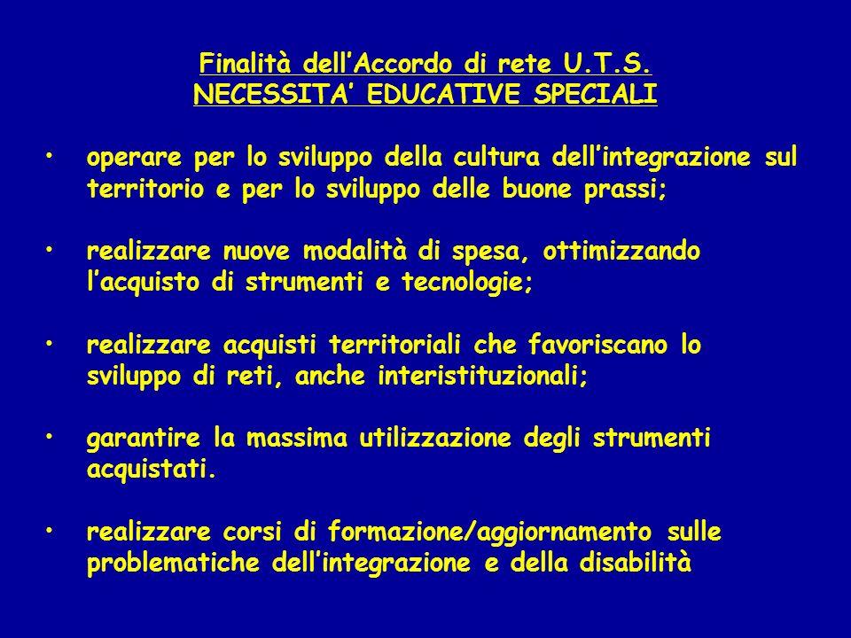 Finalità dellAccordo di rete U.T.S. NECESSITA EDUCATIVE SPECIALI operare per lo sviluppo della cultura dellintegrazione sul territorio e per lo svilup