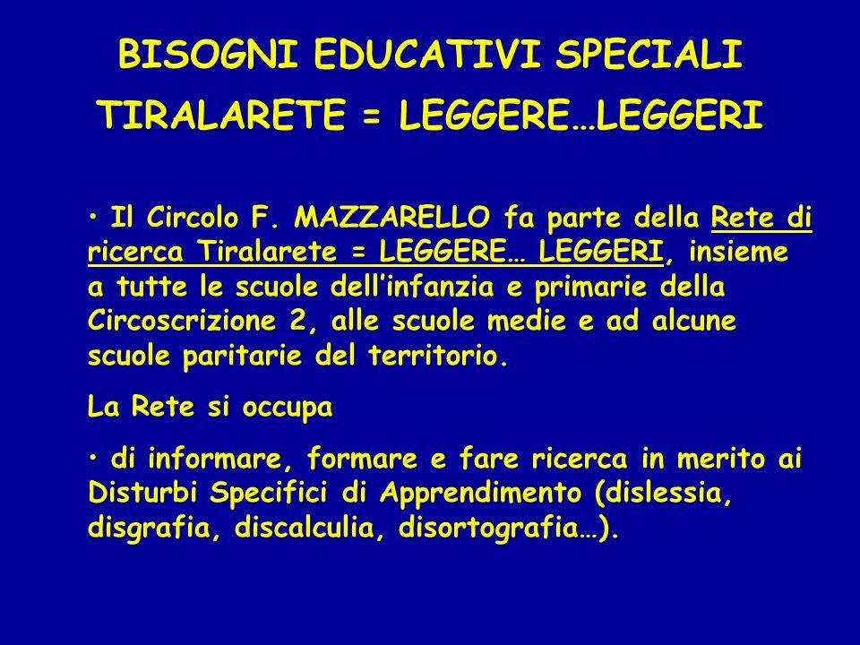 BISOGNI EDUCATIVI SPECIALI TIRALARETE = LEGGERE…LEGGERI Il Circolo F. MAZZARELLO fa parte della Rete di ricerca Tiralarete = LEGGERE… LEGGERI, insieme
