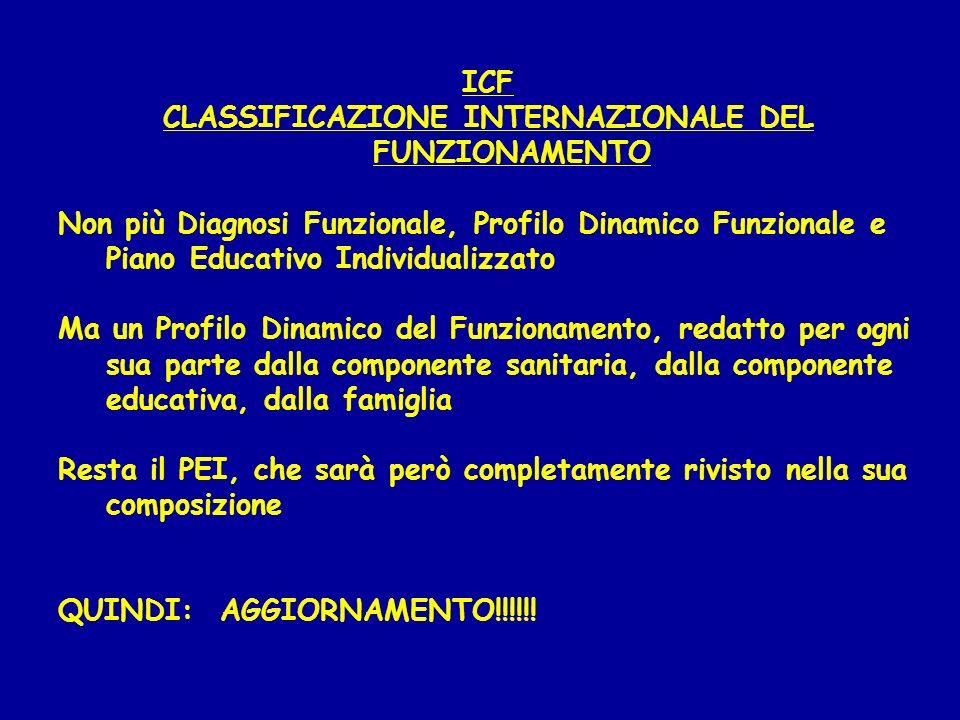 ICF CLASSIFICAZIONE INTERNAZIONALE DEL FUNZIONAMENTO Non più Diagnosi Funzionale, Profilo Dinamico Funzionale e Piano Educativo Individualizzato Ma un