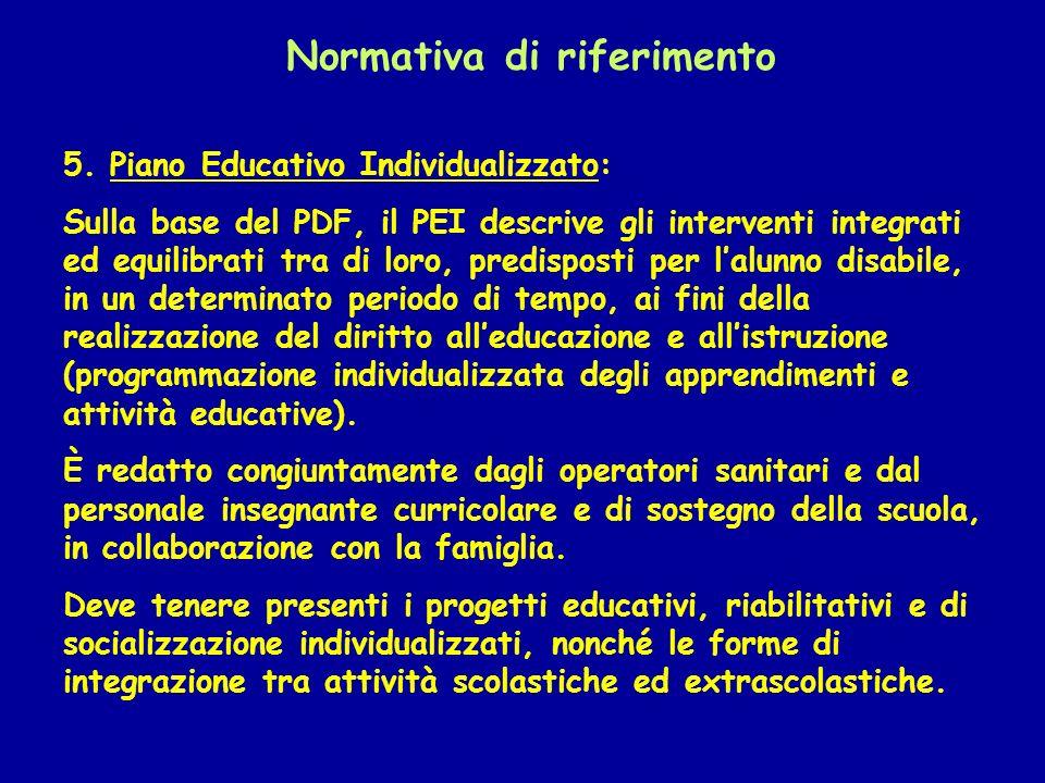 Normativa di riferimento 5. Piano Educativo Individualizzato: Sulla base del PDF, il PEI descrive gli interventi integrati ed equilibrati tra di loro,