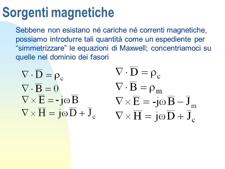 Sorgenti magnetiche Sebbene non esistano né cariche né correnti magnetiche, possiamo introdurre tali quantità come un espediente per simmetrizzare le