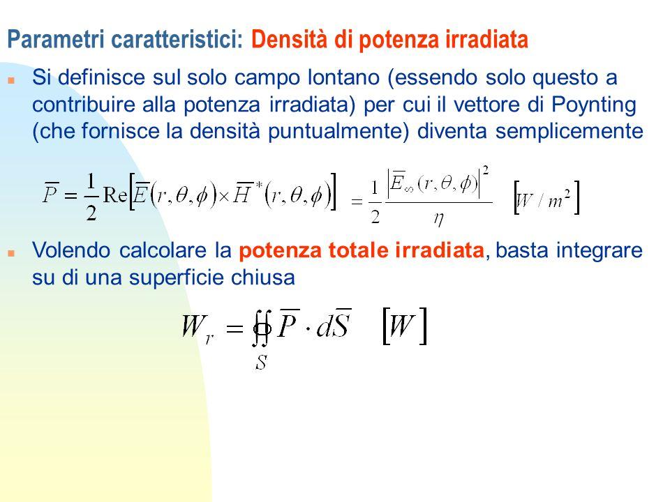 Parametri caratteristici: Densità di potenza irradiata n Si definisce sul solo campo lontano (essendo solo questo a contribuire alla potenza irradiata