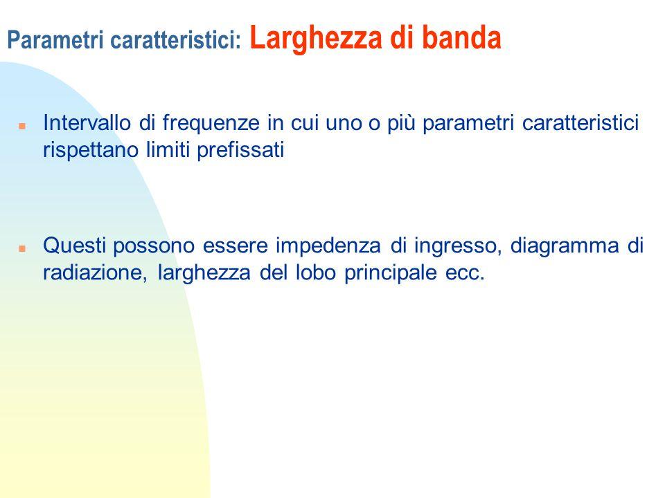 Parametri caratteristici: Larghezza di banda n Intervallo di frequenze in cui uno o più parametri caratteristici rispettano limiti prefissati n Questi