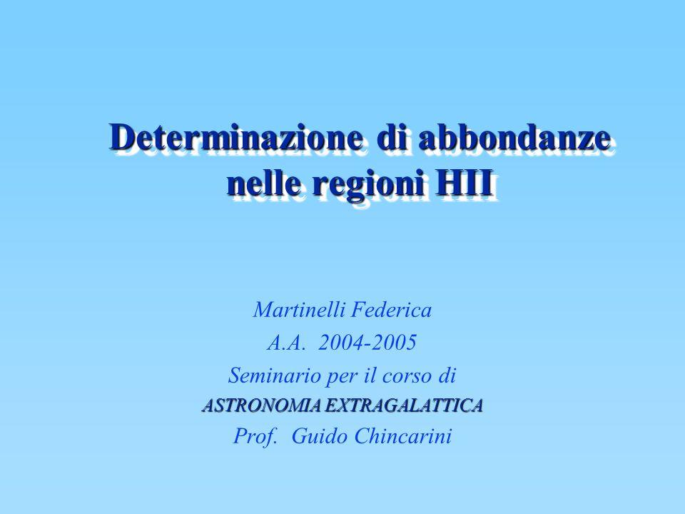 Determinazione di abbondanze nelle regioni HII Martinelli Federica A.A. 2004-2005 Seminario per il corso di ASTRONOMIA EXTRAGALATTICA Prof. Guido Chin